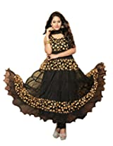 Clickedia Women Brasso and Net Beautiful long anarkali suit -Black gold