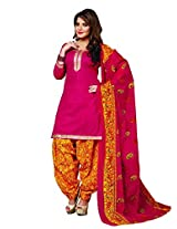 R K FASHION Women's Unstitched Cotton Patiala Suit (RKV0307_Multicolor_Free Size)