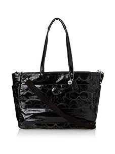 Coach Signature Stripe Stitched Patent Baby Bag, Black
