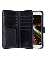 ULAK Galaxy S6 Edge Case 9 cards Slot Slim PU Leather Stand Wallet Flip Protector Cover with ID & Credit Card Pockets for Samsung (Black)