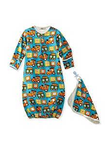 My Blankee Baby Woven Sleeper and Blankie Set (Turquoise Trains)