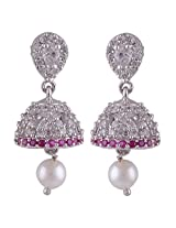 Silver Prince 6.6 Grm Pearl, White Cubic Zirconia, Pink Cubic Zirconia Bestseller 925 Silver Earrings
