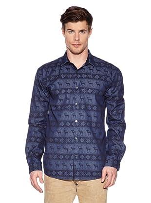 Selected Camisa Deer  M (Azul Estampado)