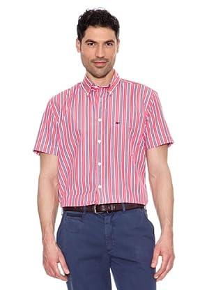 Pedro del Hierro Getstreiftes Kurzarmhemd (Rot)