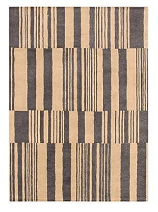 Broken Stripe Tufted Rug, Beige/Charcoal, 5' x 8'