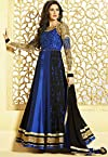 Nargis fakhri royal blue color designer semi stitched embroidered anarkali suit