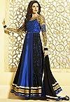 Nargis fakhri royal blue color designer semi stitched embroidered anarkali suit