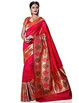 Meghdoot Women's Traditional Kanchipuram Spun Silk Saree Pink Colour Sari