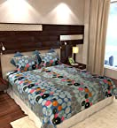 Home Candy Multi Dots Cotton Double Bedsheet with 2 Pillow Covers - Multicolor (CTN-BST-341)