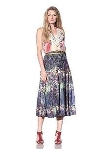 Gregory Parkinson Women's Tiered Silk Linen Skirt (Denim)