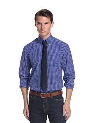 Nikky Men's Regular Fit Hand-Made Shirt (Blue Check)