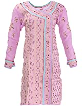 Lucknow Chikan Industry Women's Cotton Straight Kurta (LCI-385, Pink, M)