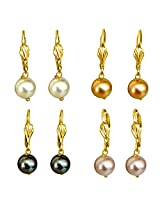 Surat Diamonds Pastel Colored Set of 4 Hanging Shell Pearl Earrings for Women (SHPSET17)