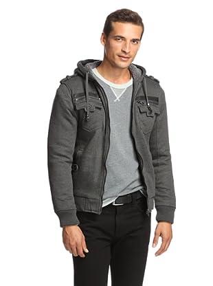 American Stitch Men's Zipped Pocket Hoodie (Dark Grey)