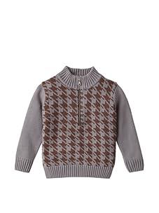One Kid Boy's Half-Zip Houndstooth Sweater (Brown/Grey)