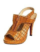 Fascino Women'S Croc Textured Brown Pu Heels -