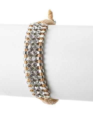 Shashi Two Row Original Adjustable Bracelet, White Gold/Beige