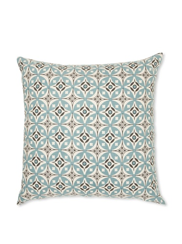 Handmade Interiors Elmas Hand Screened Pillow Cover, Duck Egg Blue/Chocolate Brown