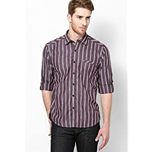 Brown Striped Slim Fit Casual Shirt