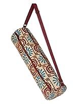Exclusive Floral Beige Jute & Cotton Block Printed Yoga Mat Bag By Rajrang