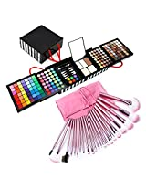 Bestrice Luxury 177 Colors Eye Shadow Makeup Palette Set Kit with Mirror 3 Pressed Powder, 2 Powder Puff, 5 Dual Sided Eyeshadow Sponge Brushes + 22 Pink Cosmetic Makeup Brush Set with Pouch Bag