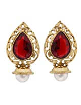 Hyderabadi Abhushan leaf shaped earrings with red stone