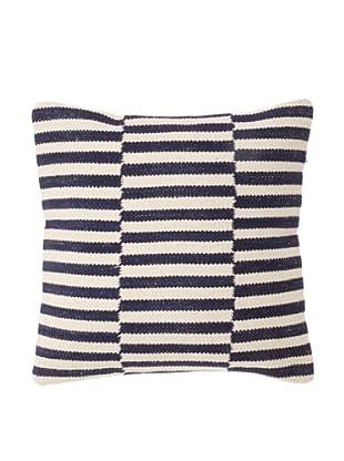 La Boheme Cotton Checker Stripe Cushion, Off-White/Navy, 16