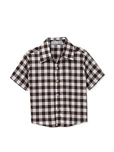 Velvet & Tweed Boy's Button Front Shirt (Brown/White Gingham)