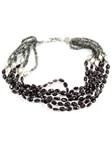 925-Silver Labradorite,Garnet Chokar Necklace For Women 11568
