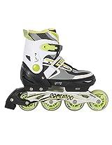 COCKATOO ABEC 5 INLINE ADJUSTABLE SKATES IS03 (72 mm Wheel) WHITE/GREEN (Medium)
