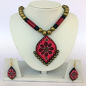Anikalan Designs Multibead Maroon Flame Pendant Terracotta Necklace Set
