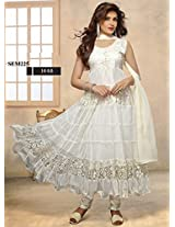 Anrkali Dress Brasso and Net Beautiful White Suit