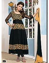 Clickedia Women Brasso & Net  Salwar Suit Dress Material (B-Reverse _Black _Free Size)