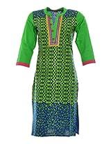 Vinorisa Girl's Cotton Regular Fit Kurti (Blue & Green, X-Large)