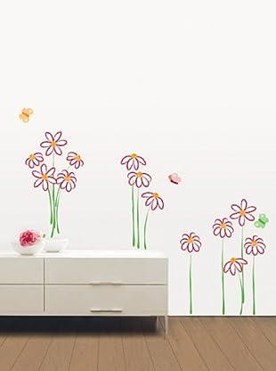 Ambience Live Vinilo Adhesivo Dibujo De Flores Multicolor