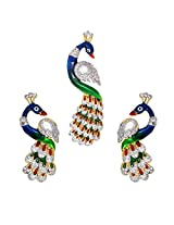 R S Jewels Gold Plated Multi Color Stone Enamel Pendant Set