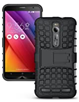 ASUS ZenFone 2 Case - JKase DIABLO Series Tough Rugged Dual Layer Protection Case Cover with Build in Stand for ASUS ZenFone 2 (Black)