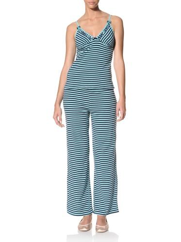 Betsey Johnson Women's Yarn Dye Cotton Pajama Set (Bahama Mama/Navy Seals)