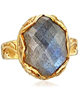"Katie Diamond ""Delilah"" Yellow Gold Labradorite Ring, Size 6"