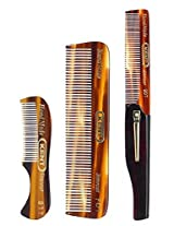 Kent Gentlemens Comb Set: 81 T Beard And Moustache Comb, Fot Pocket Comb, And 20 T Folding Pocket Comb With Clip