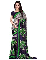Silk Bazar Women's Faux Georgette Saree with Blouse Piece (Blue & Green)