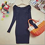 Elegant Boat Collar Long Sleeve Dress Navy
