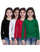 Sinimini plain full sleeve girls tshirt (pack of 4)