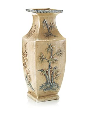 John-Richard Collection Antiqued Vase with Asian-Inspired Motif