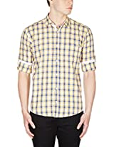 GHPC Men's 100% Cotton Casual Shirt(CS62703_44_Yellow)
