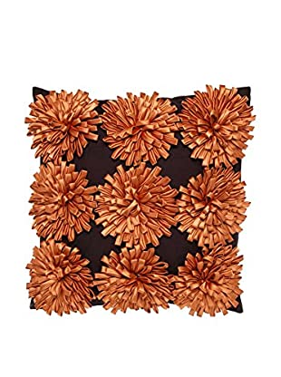 Cloud 9 3D Flowers Throw Pillow, Chocolate/Orange