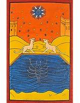 Exotic India The Moon (Folk Tarot Card Illustration) - Paata Painting on Patti - Folk Art from the T
