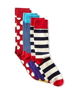 Happy Socks Men's Multi Socks (3 Pairs) (Cream/Red/Blue)