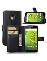 Excelsior Premium Leather Wallet Flip Cover Case For Motorola Moto X Play - Black