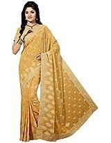 Sthri yellow party wear georgette sari(A4Shri5028, Yellow)